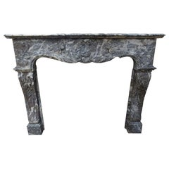 Louis XV Style Fireplace Mantel, Marble, France