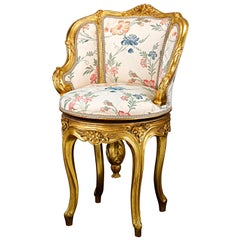 Louis XV Style Floral and Gold Ormolu Piano Stool
