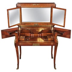 Louis XV Style Folding Vanity or Table with Various Wood Inlaid