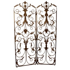 Louis XV Style Forged and Tooled Steel and Brass Panels, France 19th Century