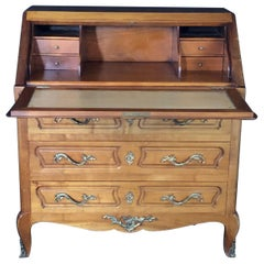 Louis XV Style French Carved Walnut Drop Front Secretary Desk