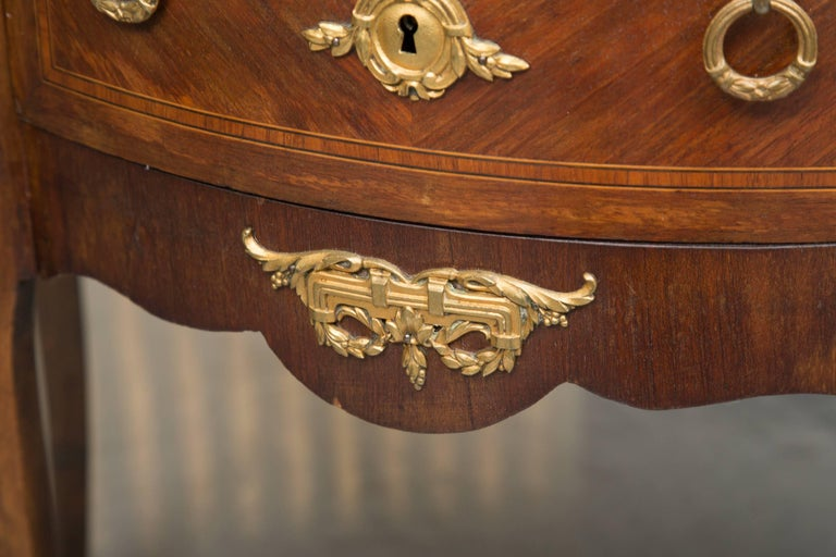 Louis XV Style French Demilune Commode with Marble Top For Sale 6