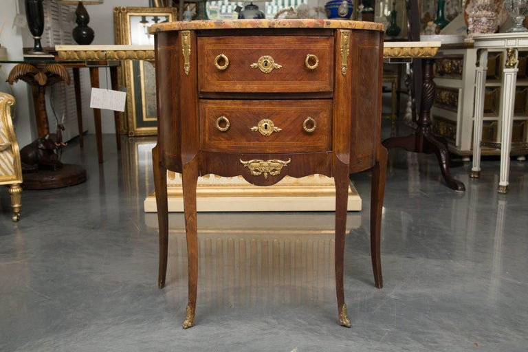 Louis XV Style French Demilune Commode with Marble Top For Sale 7