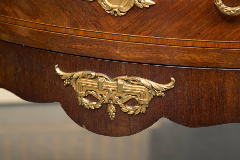 Louis XV Style French Demilune Commode with Marble Top For Sale 1