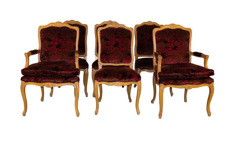 A remarkable set of 6 vintage French Provincial Louis XV upholstered dining room chairs made by Century Furniture of Hickory NC. The set of four side chairs and two arm chairs feature cabriole legs, upholstered back and seats and a lightly