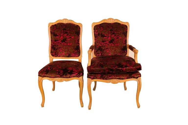 American Louis XV Style French Provincial Century Furniture Dining Chairs For Sale