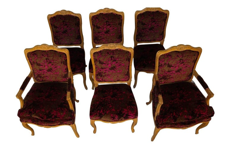 Carved Louis XV Style French Provincial Century Furniture Dining Chairs For Sale