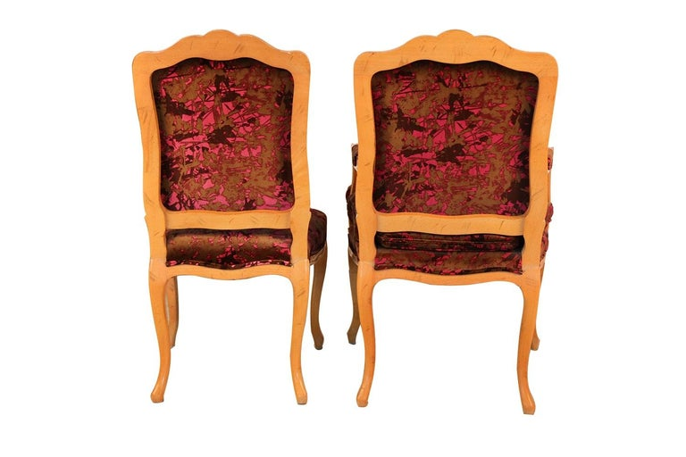 20th Century Louis XV Style French Provincial Century Furniture Dining Chairs For Sale