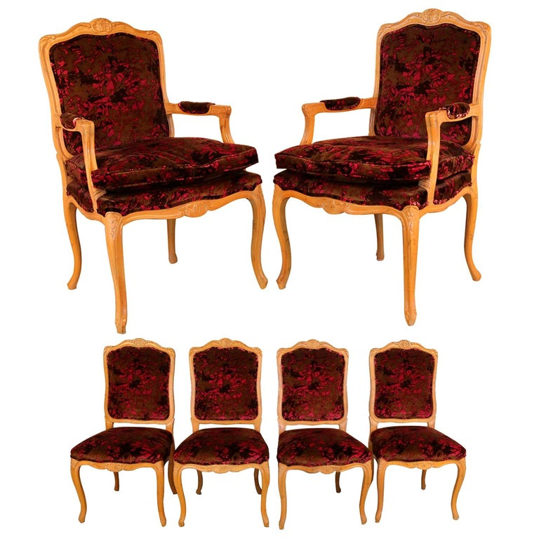 Louis XV Style French Provincial Century Furniture Dining Chairs For Sale