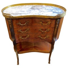 Louis XV Style Fruitwood and Marble Kidney Shaped Side Table