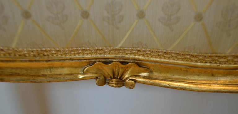 Gilt Louis XV Style Gilded Side Chair, Newly Upholstered in a Cream and Gold Silk For Sale