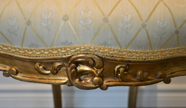 20th Century Louis XV Style Gilded Side Chair, Newly Upholstered in a Cream and Gold Silk For Sale
