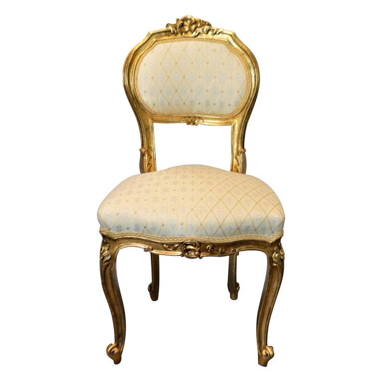 Louis XV Style Gilded Side Chair, Newly Upholstered in a Cream and Gold Silk For Sale