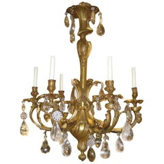 Louis XV Style Gilt Bronze 6-Light Chandelier with Rock Crystals