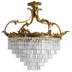 Louis XV Style Gilt Bronze and Crystal Ceiling Light