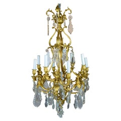 Louis XV Style Gilt-Bronze and Cut-Crystal Eight-Light Chandelier