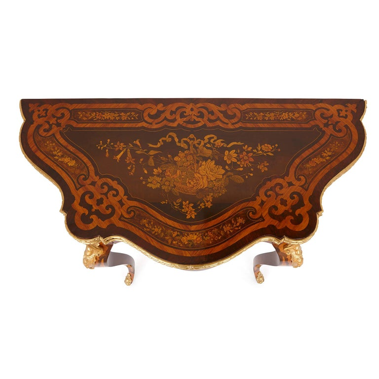 Rococo Louis XV Style Gilt Bronze and Marquetry Card Table For Sale