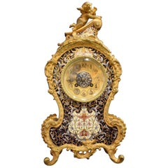 Louis XV Style Gilt Bronze and Enameled Clock