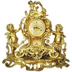 Louis XV Style Gilt Bronze Mantle Clock