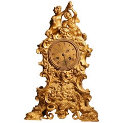 Louis XV Style Gilt Bronze Mantle Clock in the Rocco Taste