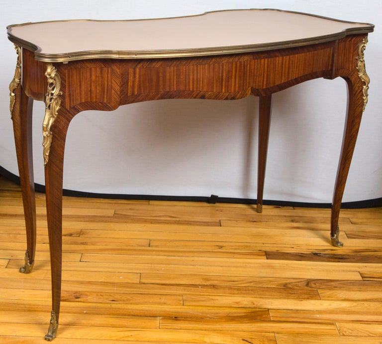 Mid-20th Century Louis XV Style Gilt Bronze-Mounted Bois-Satiné Writing Table For Sale