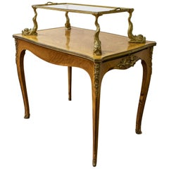 Louis XV Style Gilt Bronze Mounted King Wood Two-Tier Table