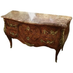 Louis XV Style Gilt Bronze Mounted Mahogany, Kingwood Marquetry Commode 19th c