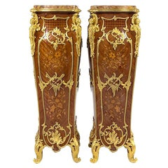 Louis XV Style Gilt Bronze Mounted Marquetry Pedestals with breche d'alep marble