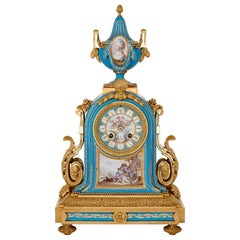 Louis XV Style Gilt Bronze Mounted Porcelain Mantel Clock