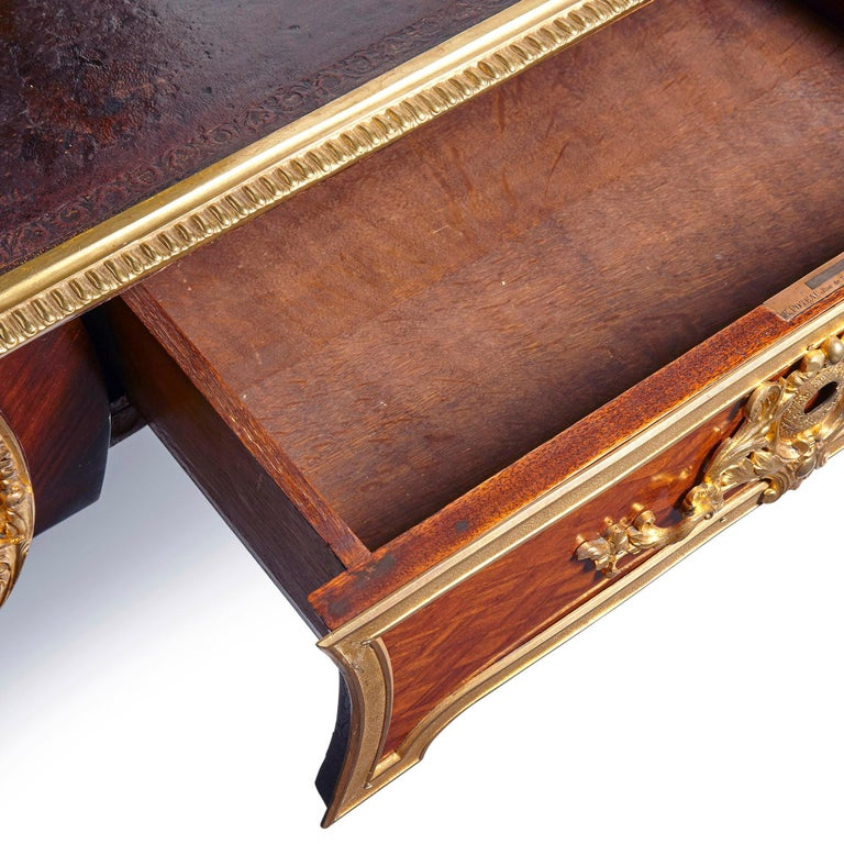 19th Century Louis XV Style Gilt Bronze Mounted Writing Desk by Poteau For Sale