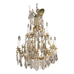 Louis XV Style Gilt Bronze Twelve Light Bird Cage Style Electrified Chandelier