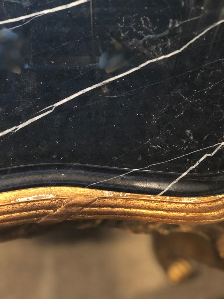 Louis XV Style Gilt Console Table with Marble Top For Sale 2