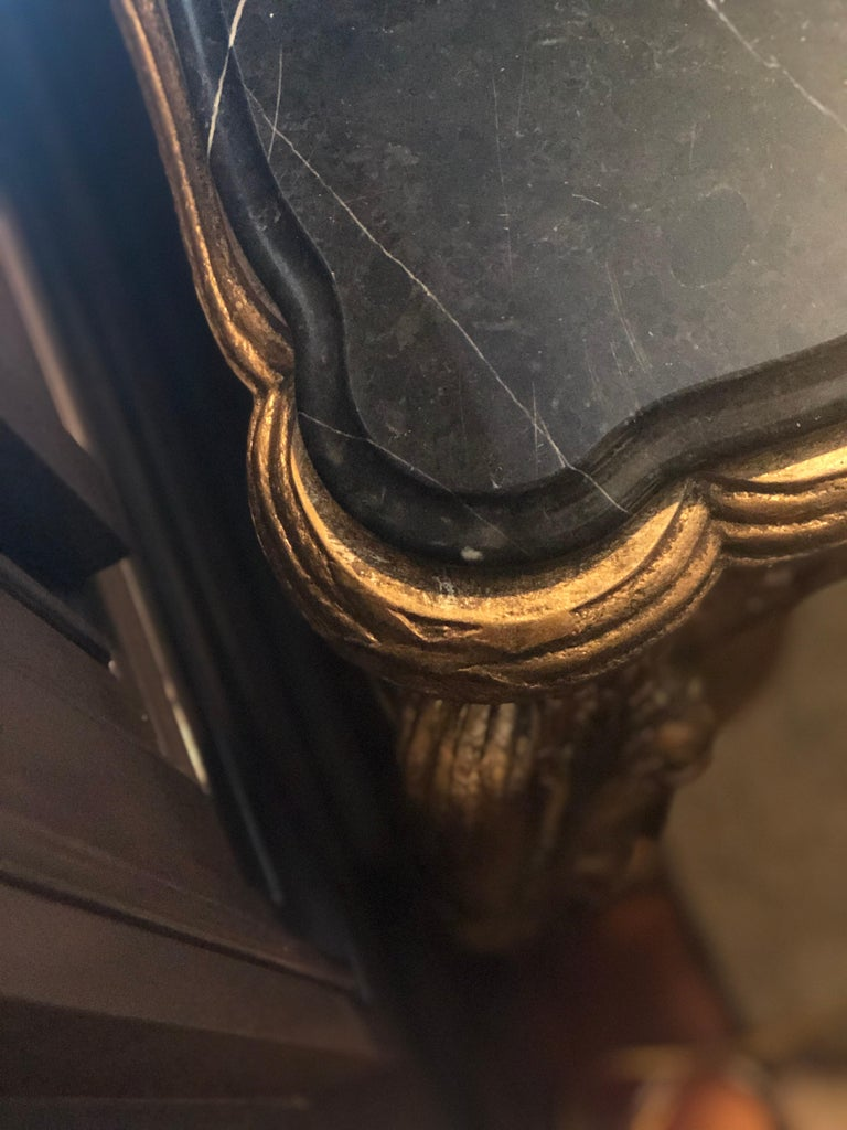Louis XV Style Gilt Console Table with Marble Top For Sale 4