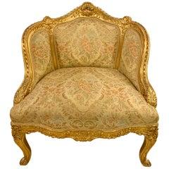 Louis XV Style Gilt Gold Armchair, Slipper or Bergere Chair