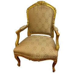 Louis XV Style Giltwood Arm Bergère Chair