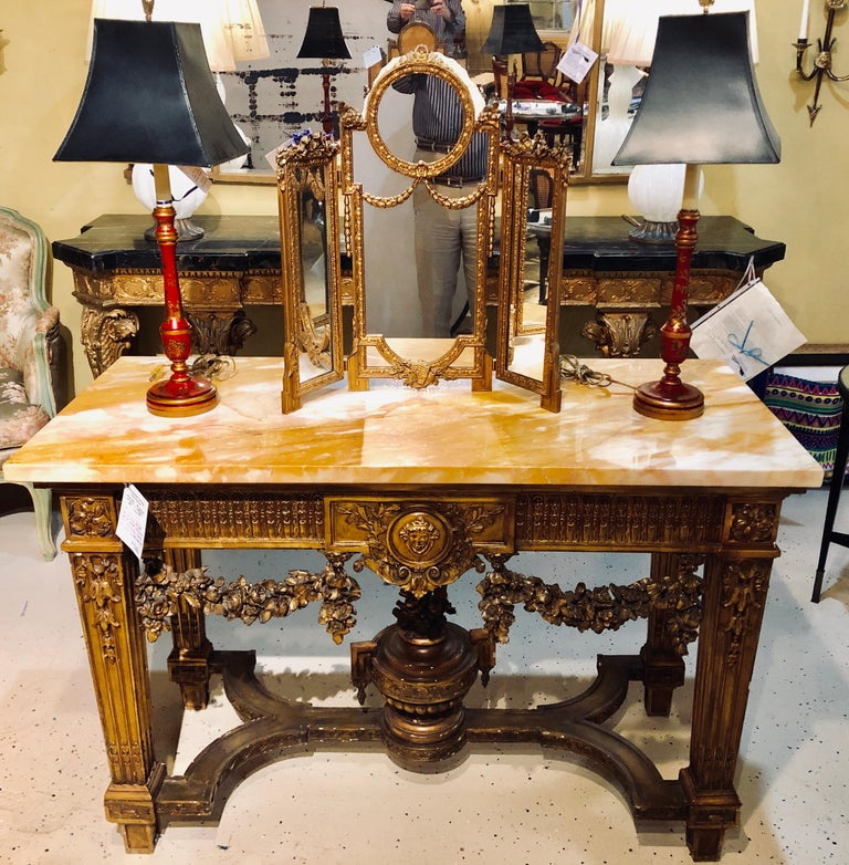 20th Century Louis XV Style Giltwood Marble-Top Console, Hall or Center Table For Sale