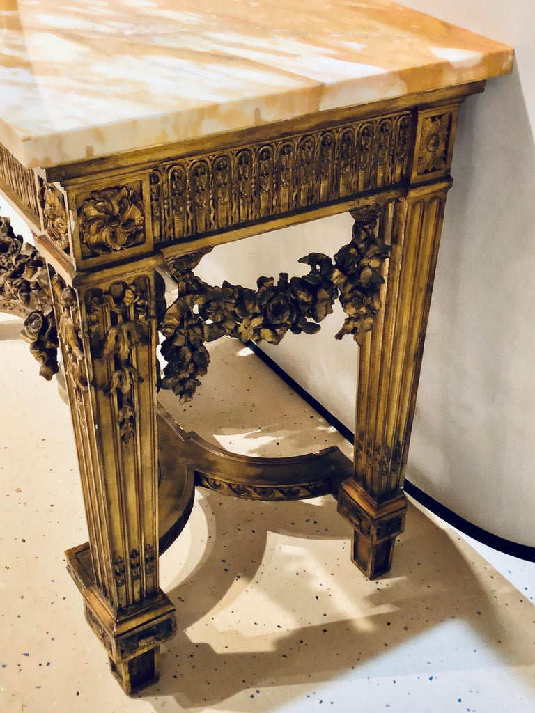 Louis XV Style Giltwood Marble-Top Console, Hall or Center Table For Sale 4