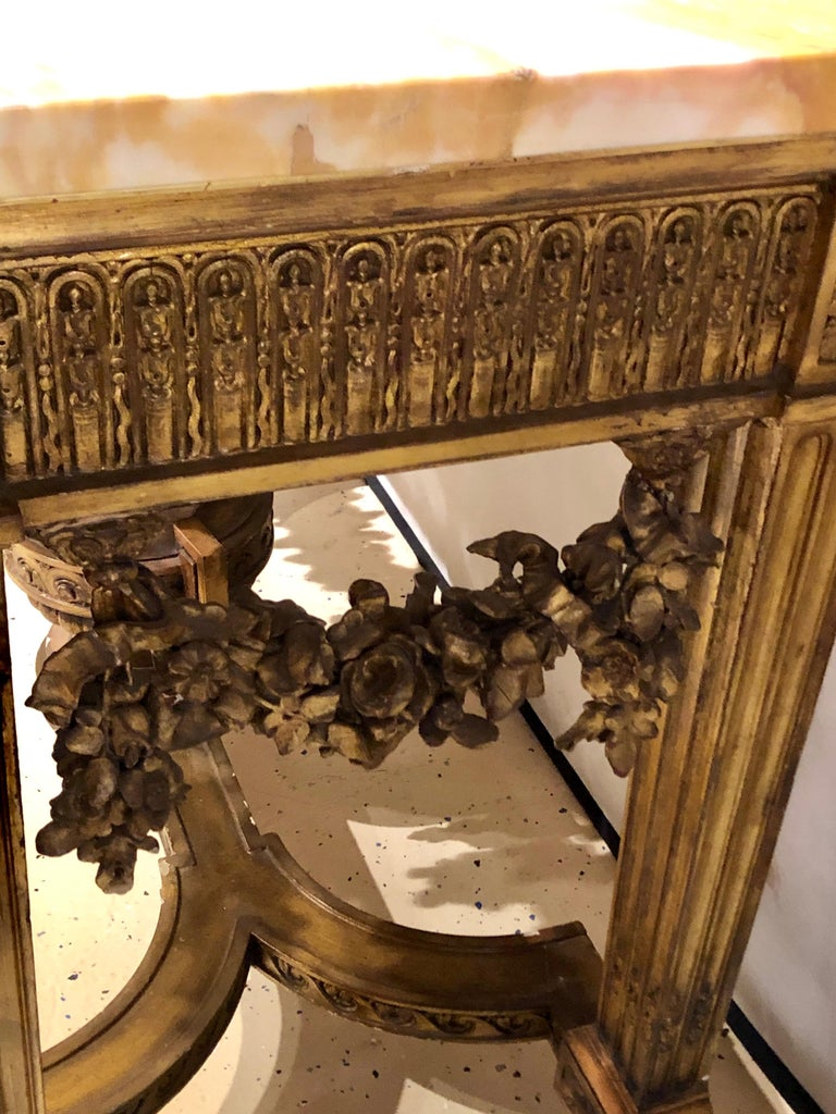 Louis XV Style Giltwood Marble-Top Console, Hall or Center Table For Sale 5