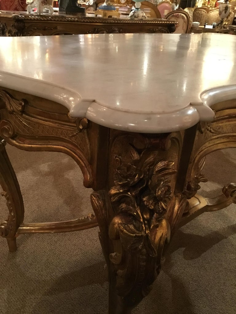 Wood Louis XV Style Giltwood and Marble-Top Center Table with Foliate Garlands For Sale