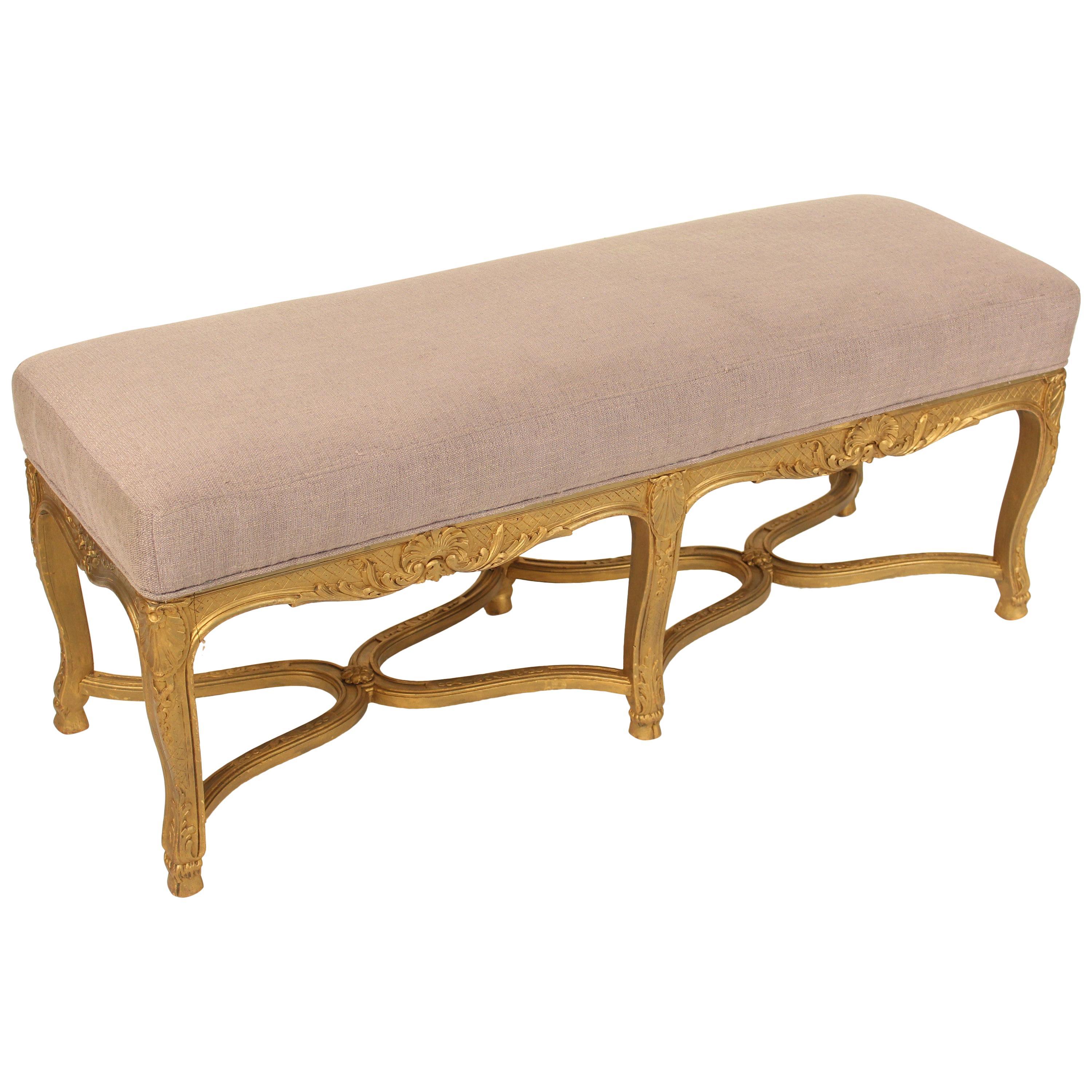 Louis XV Style Giltwood Bench