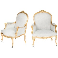 Louis XV Style Giltwood Bergere Armchairs