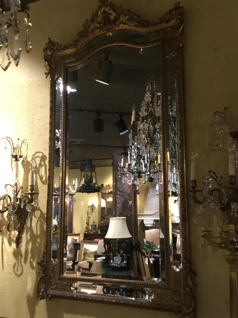 Louis XV Style Giltwood Cushion Mirror, 19th Century with Double Beveled Mirrors In Good Condition For Sale In Houston, TX