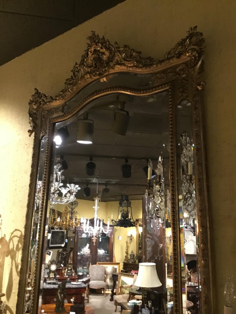 Louis XV Style Giltwood Cushion Mirror, 19th Century with Double Beveled Mirrors For Sale 1