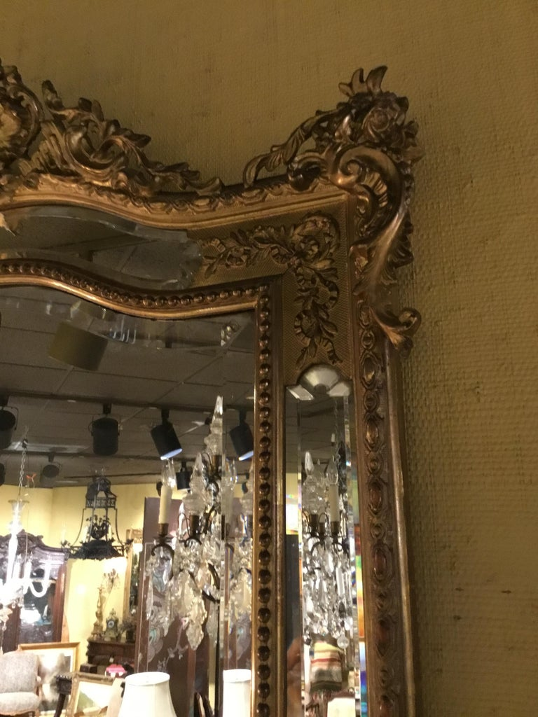 Louis XV Style Giltwood Cushion Mirror, 19th Century with Double Beveled Mirrors For Sale 2