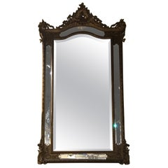 Louis XV Style Giltwood Cushion Mirror, 19th Century with Double Beveled Mirrors