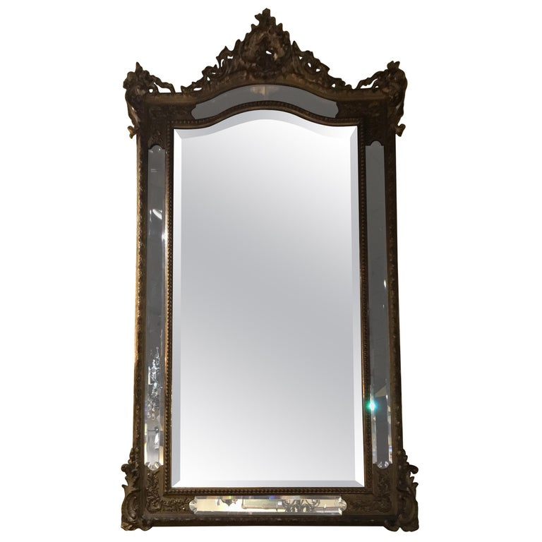 Louis XV Style Giltwood Cushion Mirror, 19th Century with Double Beveled Mirrors For Sale