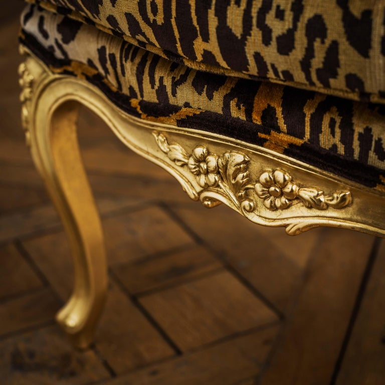 Louis XV Style Giltwood Duchesse Brissée, Chaise Longue & Pair of Chairs For Sale 4
