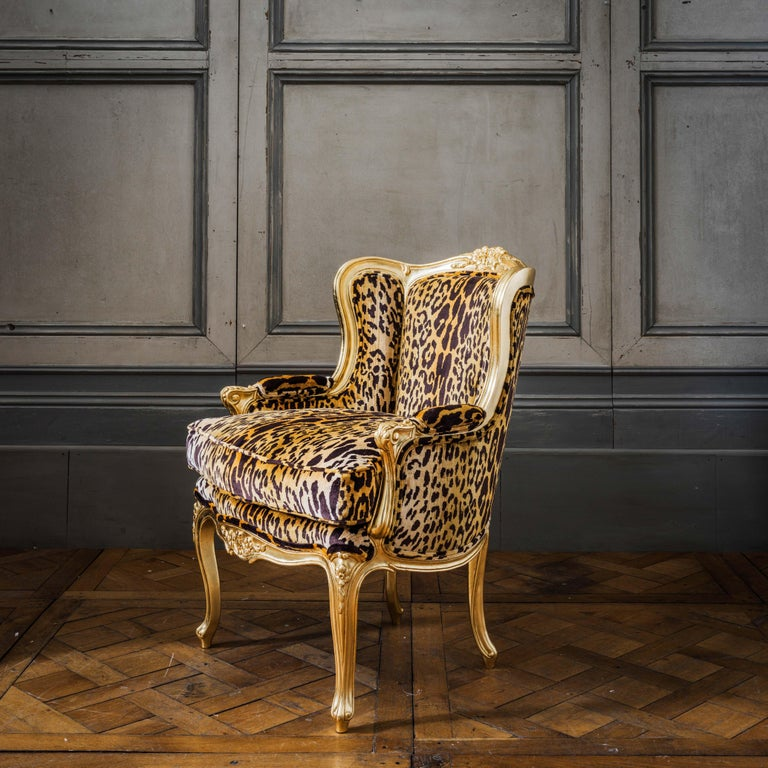 Louis XV Style Giltwood Duchesse Brissée, Chaise Longue & Pair of Chairs For Sale 8