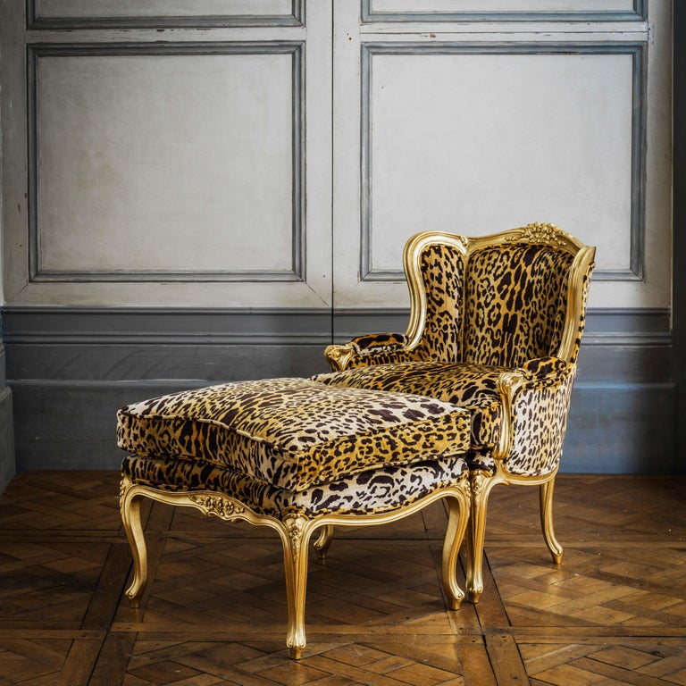 A Louis XV Duchesse Brissée that keeps on giving as it can also be used as a chaise longue or pair of chairs. Hand carved and hand finished to order. This piece has been upholstered in house in a bold leopard print for a statement look. Fabric not