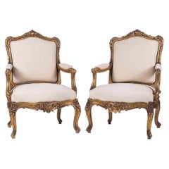 Louis XV Style Giltwood Fauteuils